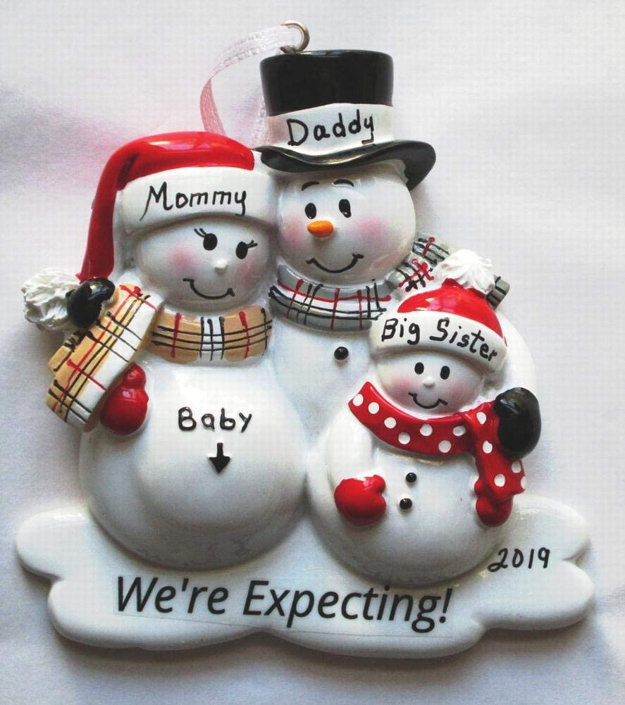 Amazon Com We Are Expecting Ornament Pregnancy Ornament Family Of Three 2020 Personalized Christmas Tree Ornament Family Of 3 Mommy Daddy And Big Sister Furniture Decor
