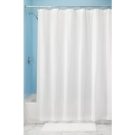 InterDesign Hugo Cotton Blend Shower Curtain, Luxury Hotel   Long 72 X 84,  White