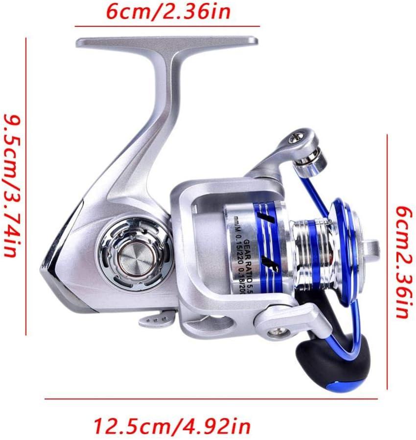 Alomejor Angelrolle Rad Faltbare Salzwasser-Spinnrolle mit Korrosionsschutz 2000 3000 4000 5000 Series