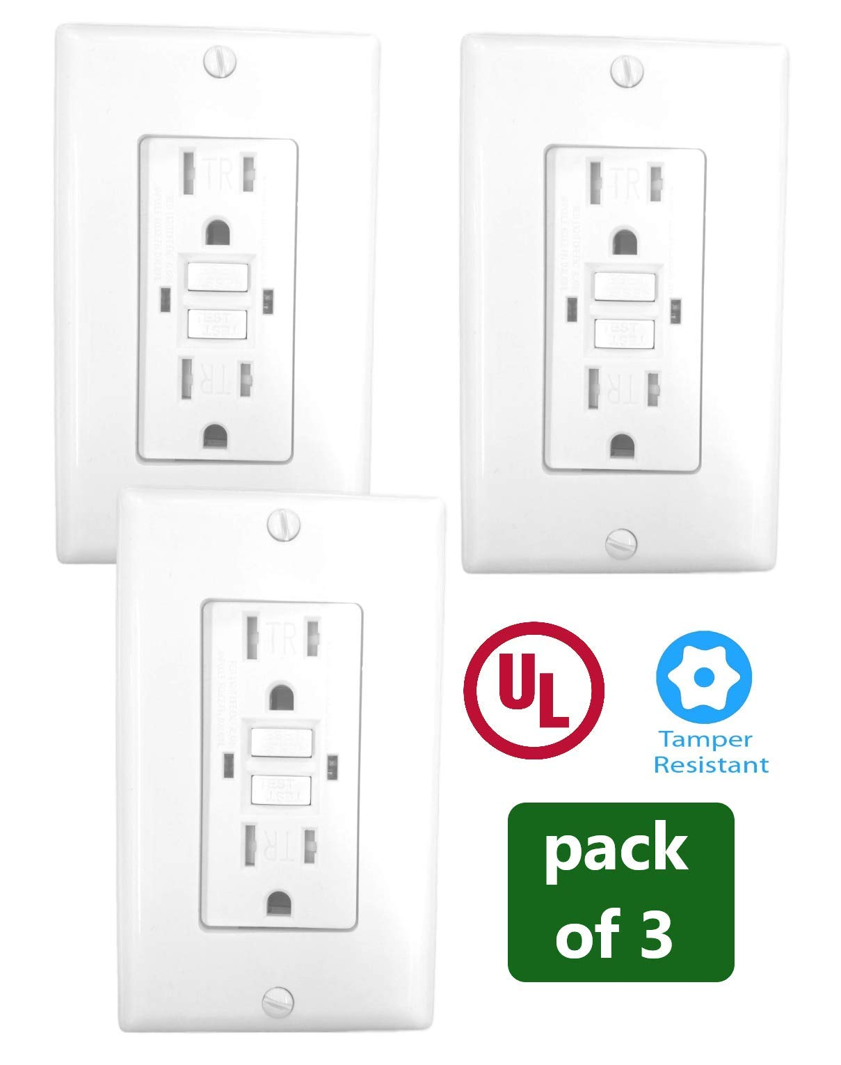 15 Amp GFCI Receptacle Outlet w/LED & Wallplate UL2015 (Pack of 3)