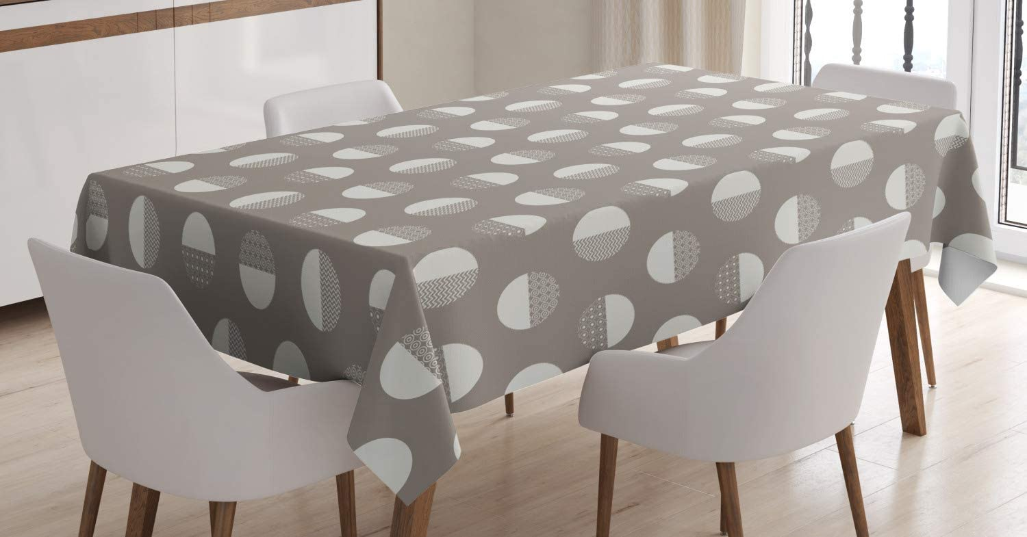 Ambesonne Geometric Tablecloth, Bold Monochrome Concentric Circles and Zigzags Forming Bigger Circles, Rectangular Table Cover for Dining Room Kitchen Decor, 60