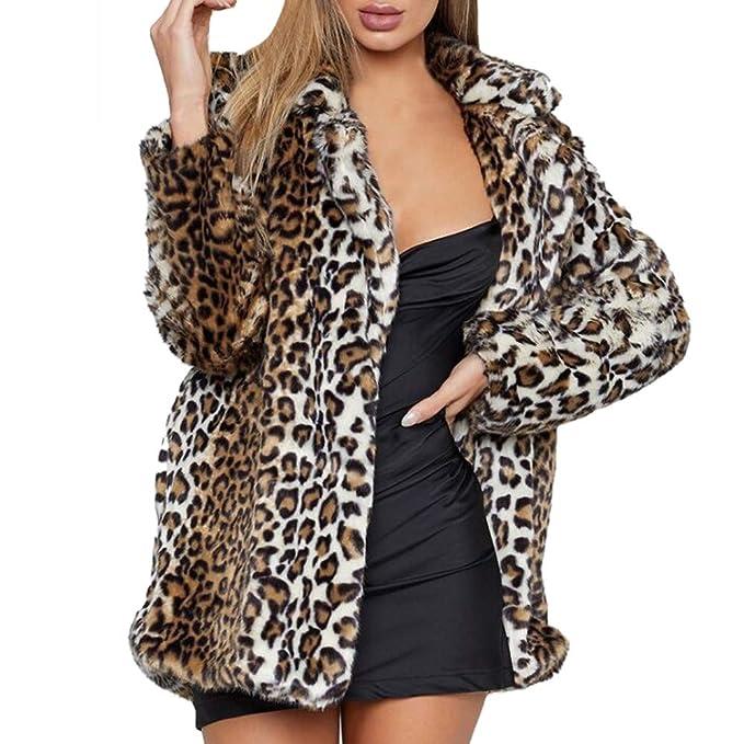 Linlink Mujeres Leopardo Estampado Caliente Piel sintética Abrigo Chaqueta Invierno Parka Abrigos: Amazon.es: Ropa y accesorios