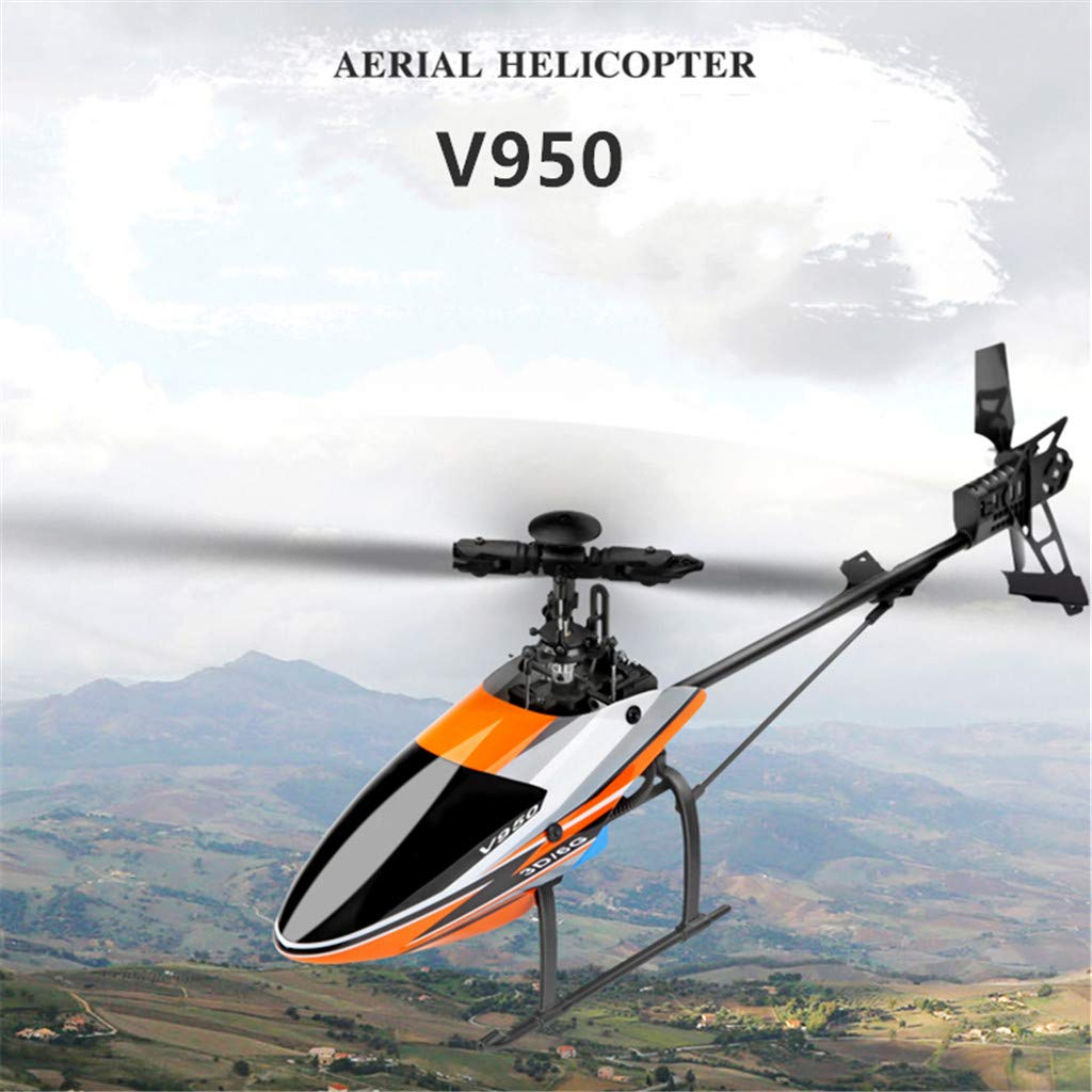 Pstars WLtoys V950 2.4G 6CH 3D 6G System Brushless Motor Flybarless RC Helicopter Single Propeller Without Aileron Brushless Motor Remote Control Helicopter