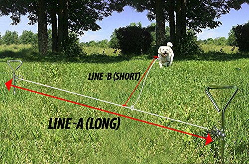 15' Heavy Tie Out ((2) Spiral Stake Heavy Tie Out 10 feet (LINE-A(LONG)) and other 15 feet cable (LINE-B(SHORT)) for dogs)