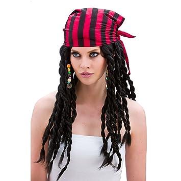 Buccaneer Beauty Pirate Wig Ladies Fancy Dress Black (peluca)