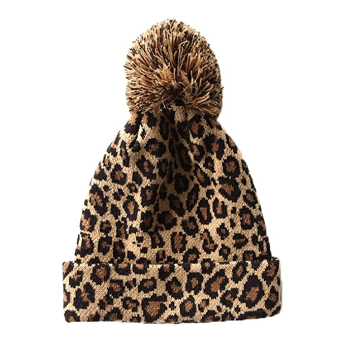 4bc004e0d3a Amazon.com  R LivE Sexy Leopard Knitted Beanie Hat Women Girls Caps ...