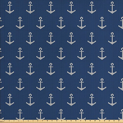 Anchor Fabric by the Yard by Ambesonne, Nordic Knitwear Theme Retro Scandinavian Winter Fashion Pattern Hipster Oceanic, Decorative Fabric for Upholstery and Home Accents, Blue White