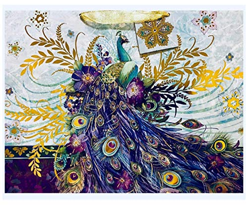 Punch Studio Large 3D Gem & Gold Foil Horizontal Gift Bag, Blue Blossom Peacock 65816