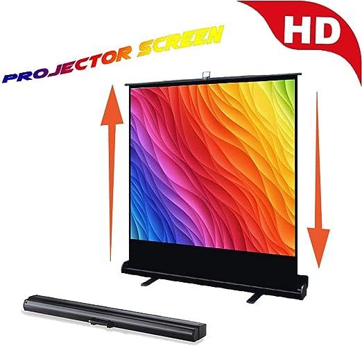 Pantalla De Proyeccion Enrollable Manual, HD Portátil Pantallas De Video Proyeccion, Un Funcionamiento Suave para Oficina, Formación, Educación, Conferencia,Black 30