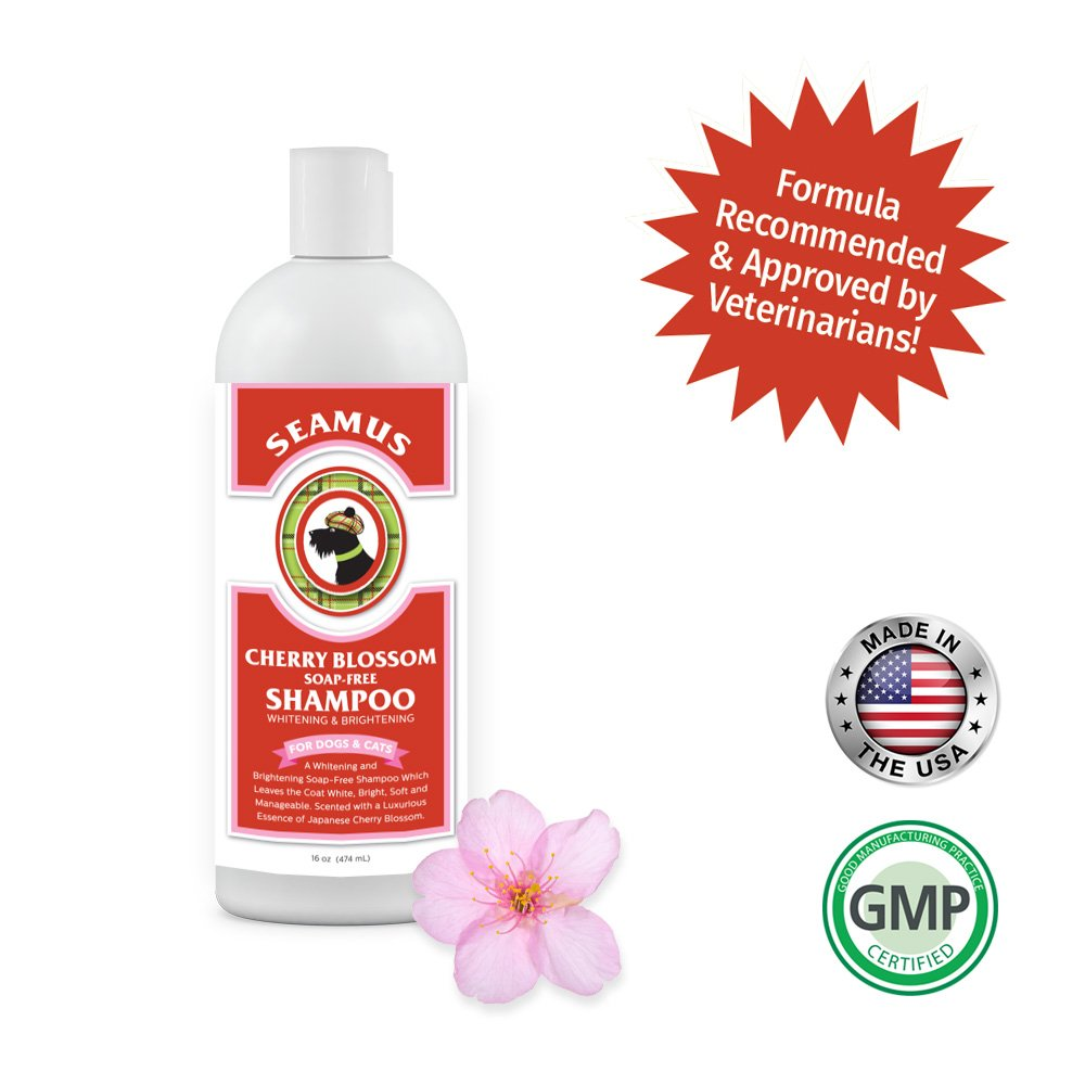 Seamus Cherry Blossom Professional Hypoallergenic, Whitening & Brightening Dog Shampoo-Soap Free -Best for Dogs, Cats, and Horses- Relieves Dry and Itchy Skin