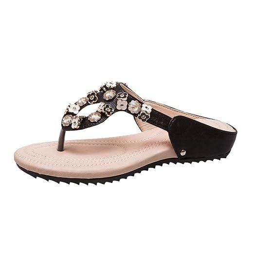 9ed55eb3cd69a Women Flower Rhinestone Flat Heel Anti Skidding Beach Shoes Sandals Slipper