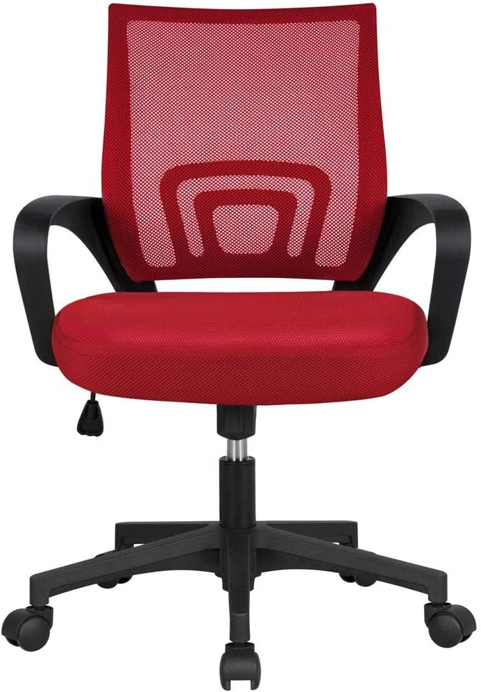 Yaheetech Computer Chair Ergonomic Office Chair Mid-Back Desk Chair w/Armrest and Swivel Casters - Red