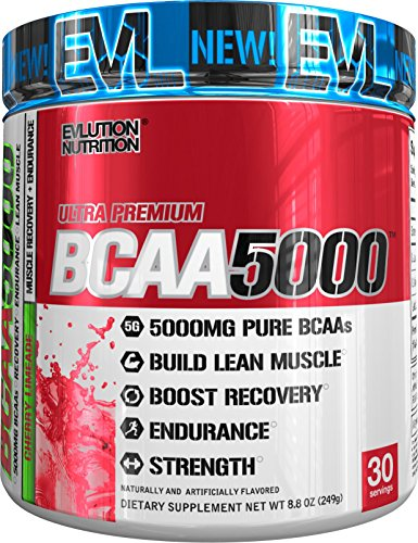 Evlution Nutrition BCAA5000 Powder 5 Grams of Premium BCAAs (30 Servings, Cherry Limeade)