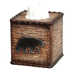 Black bear hideaway lodge r stico caja de pa uelos for Accesorios cuarto de bano amazon