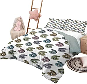 Pearls Bedding Sets King, Lightweight Microfiber Cover Set Colorful Seashells Hand Drawn Nautical Illustration Aquarium Elements Exotic Theme (1 Duvet Cover + 2 Pillowcases) Multicolor