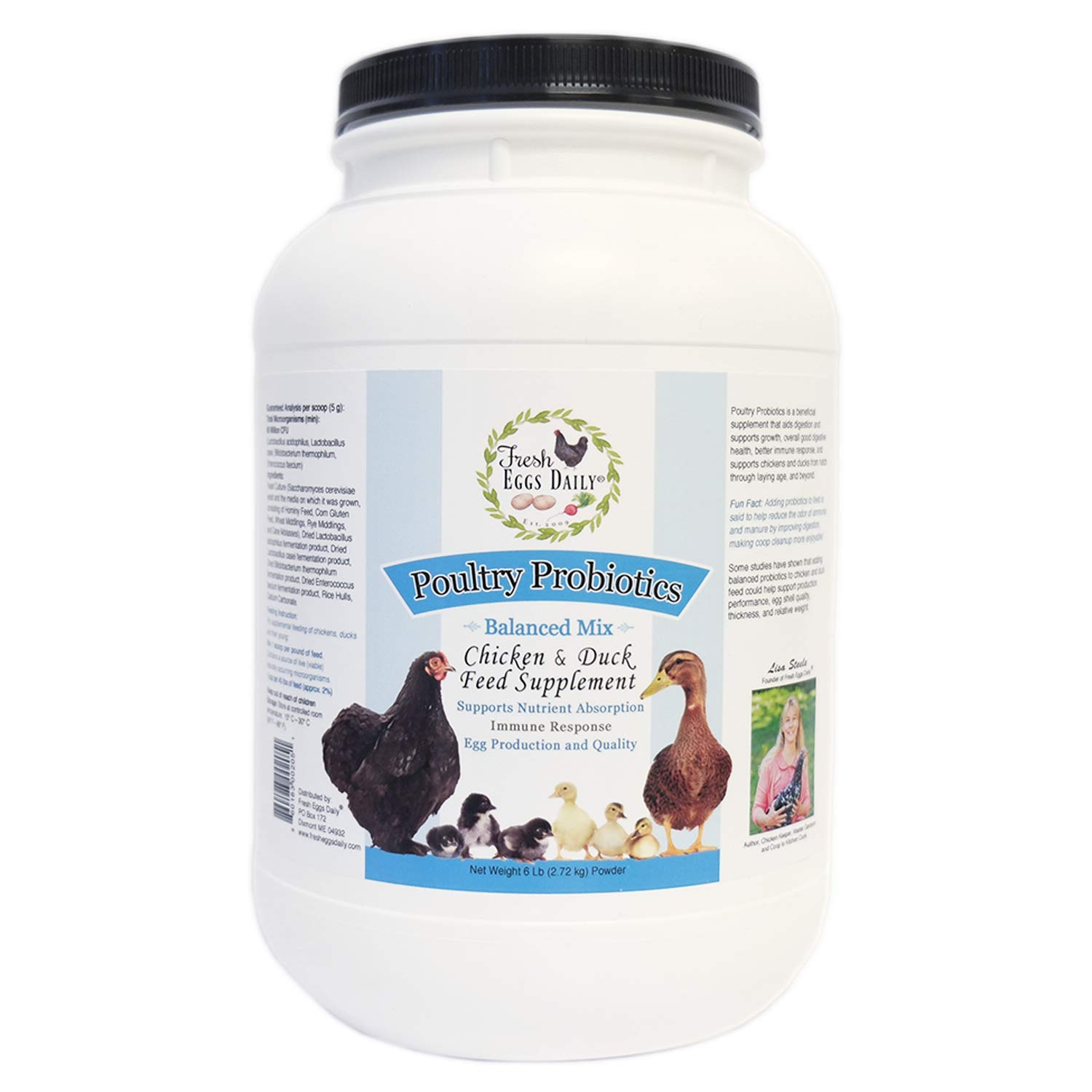 Fresh Eggs Daily Poultry Probiotics Chicken & Duck Feed Supplement 6LB by Fresh Eggs Daily