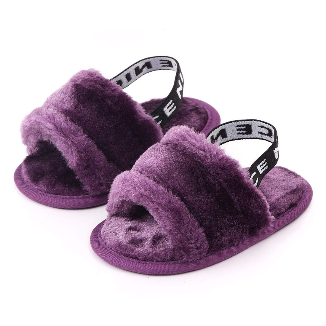 BLKCERY Baby Sandals for Girls Summer Shoes Faux Fur Slippers