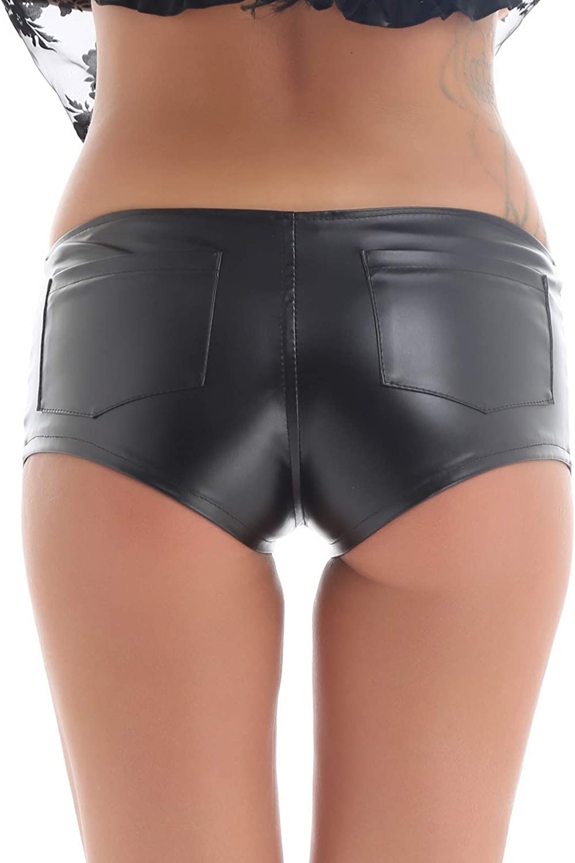 iiniim Women/â/€/™s Wet Look Dance Rave Booty Shorts Shiny Stretchy Zipper Side Hot Pants