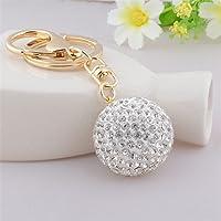 Full Rhinestone Crystal Golf Ball Charm Pendant Purse Bag Keyring Key Chain (White)