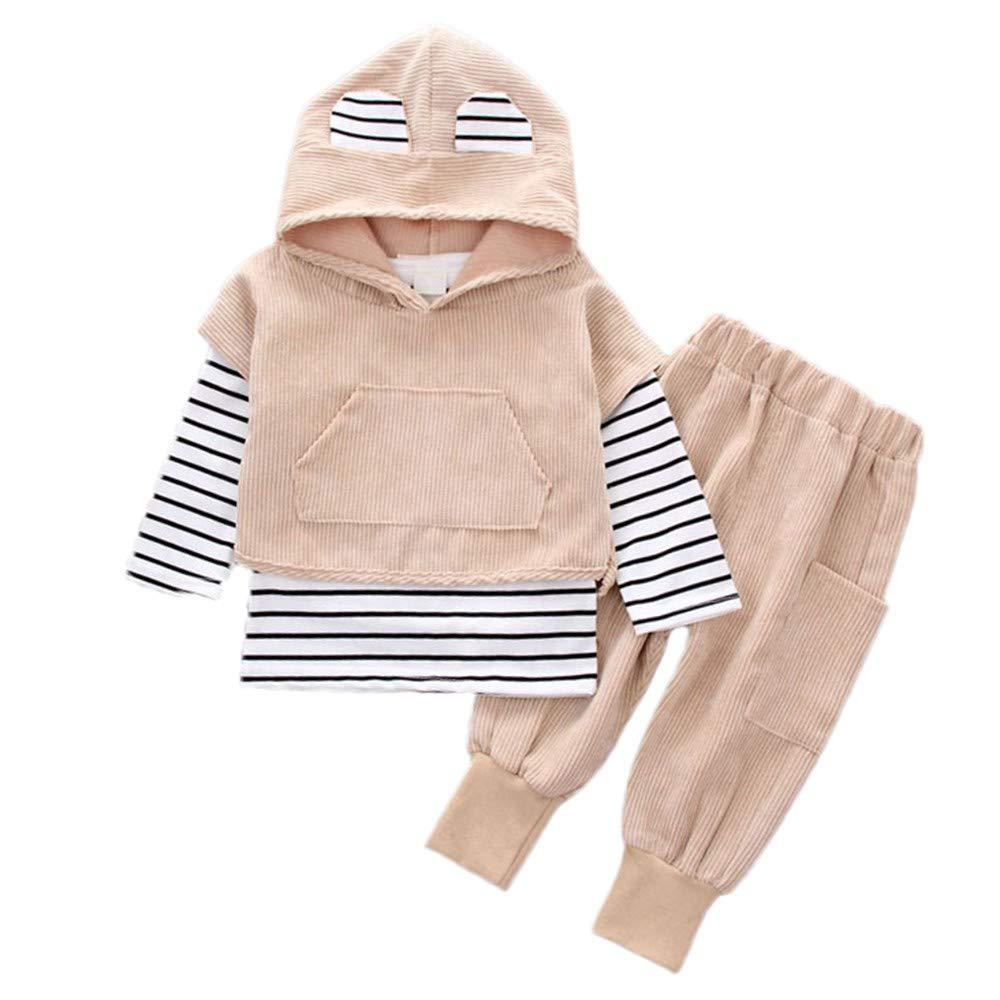 Sagton Toddler Kids Baby Boy Girls Hooded Stripe T-Shirt Corduroy Patchwork Tops+Pants Clothes Set (18M, Khaki)