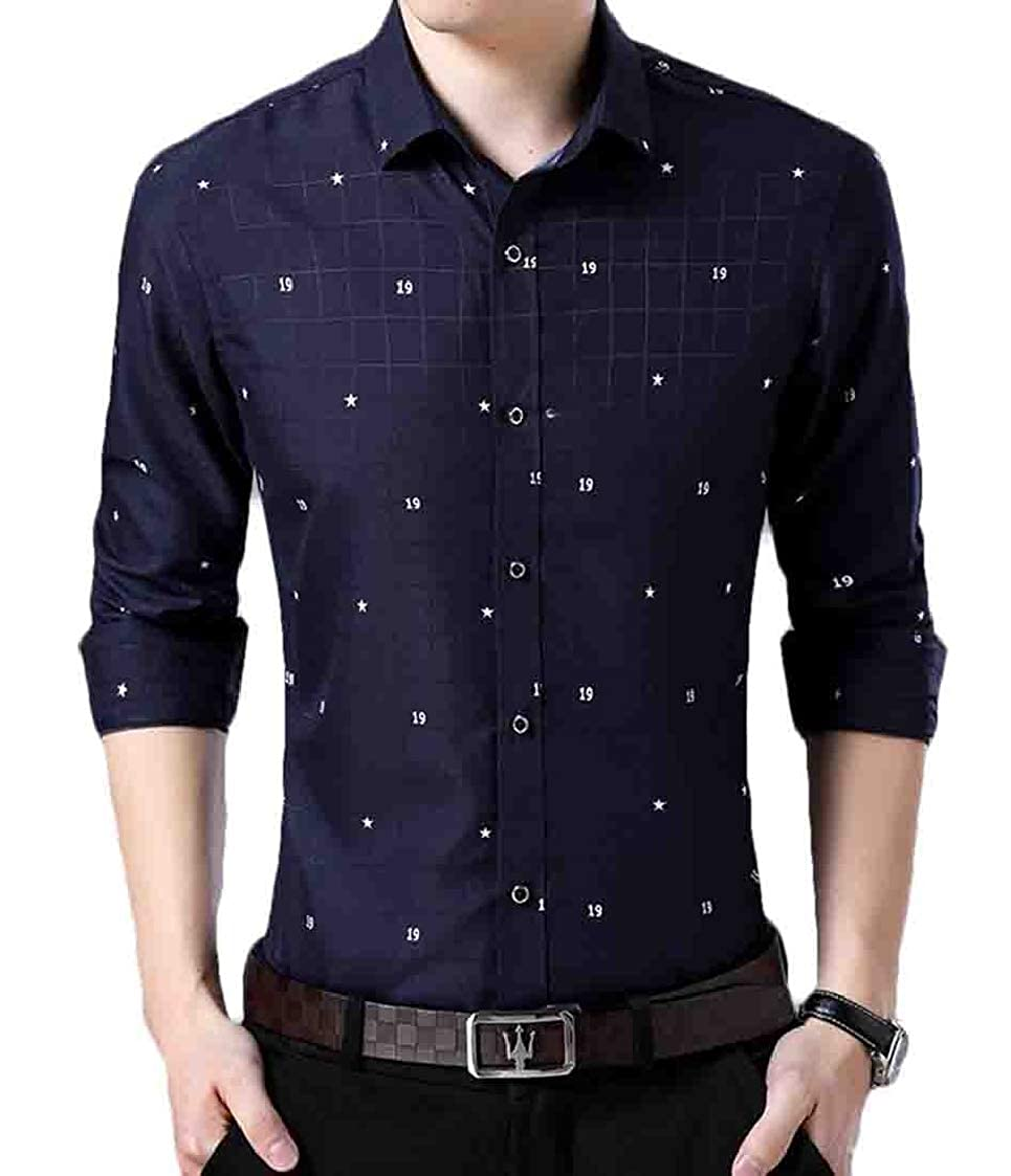 Nanquan Men Printed Long Sleeve Slim Fit Button Down Casual Business Shirt