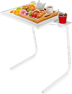 Mejerca Adjustable TV Tray Table FoldingTV Dinner Tray with Cup Holder on Bed & Sofa, Comfortable Folding Table with 6 Height & 3 Tilt Angle (White)