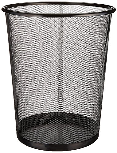 "Zuvo Mesh WasteBasket Black Metal Wire Garbage Trash Can For Office Home Bedroom Height 10.1"" Width 10"" , 4 Gallon (16 Quart) (1, Black)"