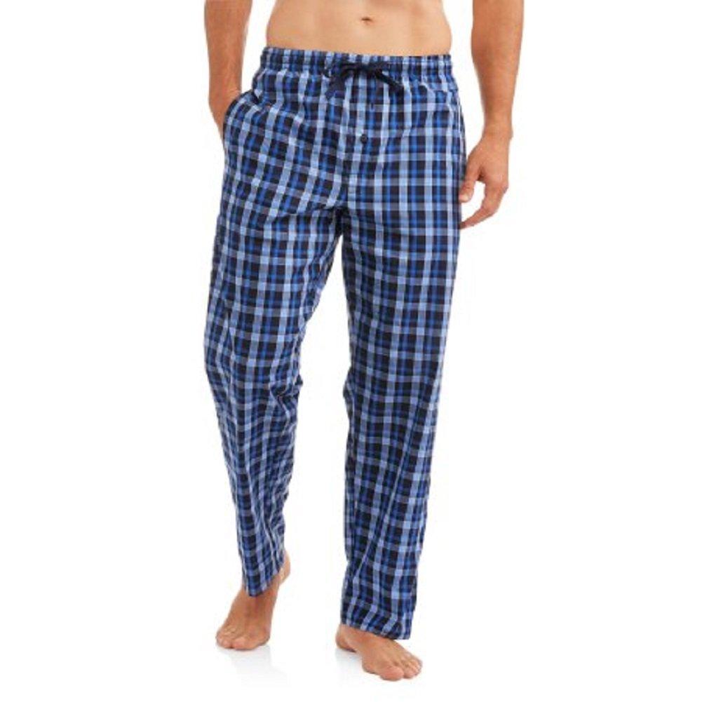 Hanes Men's Logo Woven Plaid Pants (Small, Blue Plaid)
