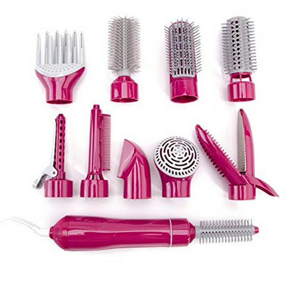 Multifunction Hair Dryer Styling Tools Set Professional Electric Hair Dryer Blow Hairdryer Styler Brush Comb Woman Straightener,Pink