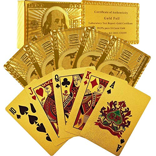 rainbow25- Creative Beautiful Gold Foil Playing Cards Waterproof Plated Poker 100 Dollar Pattern Design ... (Golden Foil)