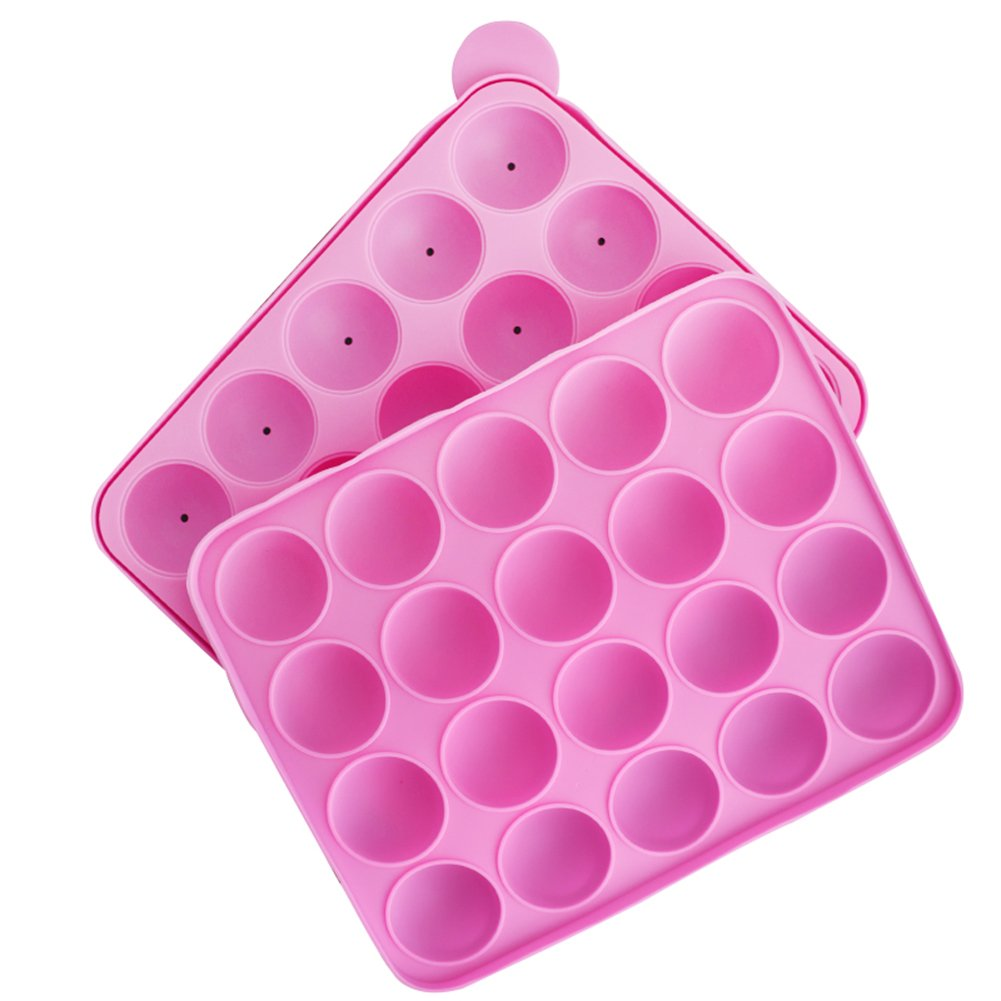 KALAIEN 18-Cavity Silicone Cake Mold Lollypop Cupcake Baking Mold Cake Pop Stick Mold Tray Lollipop Cupcake (Pink 20 cavity)