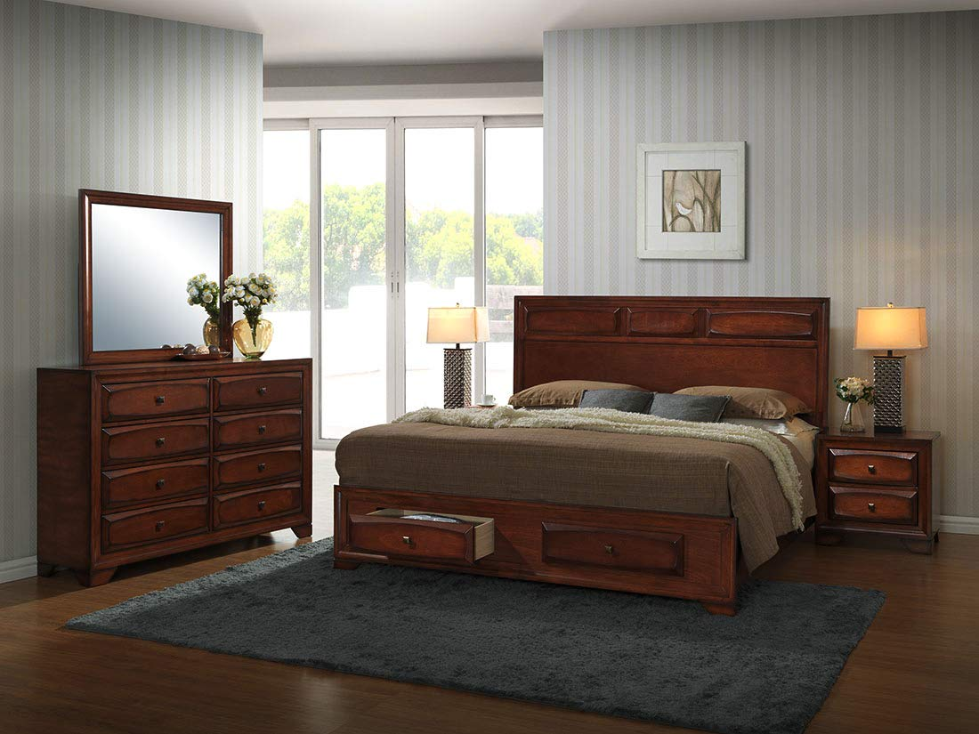 Roundhill Furniture Oakland 139 Antique Bed Room Set, King, Oak Finish by Roundhill Furniture