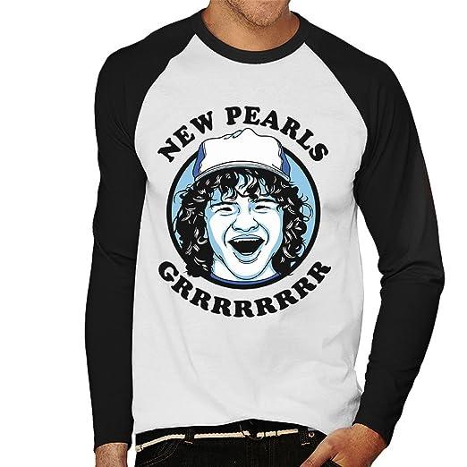 Dustin New Pearls Stranger Things Mens Baseball Long Sleeved T ...