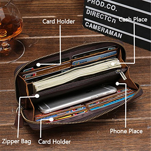 JOSEKO Phone Wallet Case, Genuine Leather Vintage Coin Bag Business Zipper Long 5.5 Inche Phone Wallet for Men Coffee 7.68'' x 0.98'' x 3.94'' (L x W x H) by JOSEKO (Image #4)