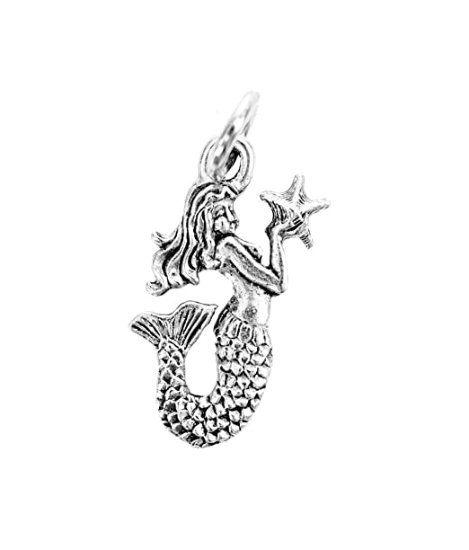 Amazon Beaucoup Designs Silver Mermaid Character Charm Clothing