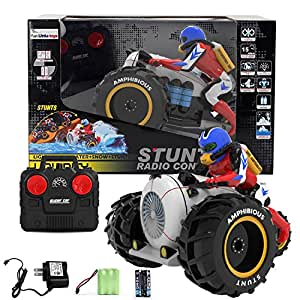 Remote Control Amphibian Stunt Vehicle, Land & Water Racing Motorcycle, Race Bike with Light