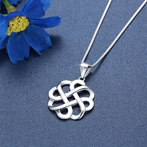 JUFU 925 Sterling Silver Good Luck Polished Celtic Knot Cross Pendant Necklace For Womens (Silver) (Celtic knot A) by JUFU (Image #3)