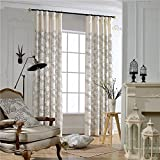 KoTing Cream White Natural Linen Cotton Black Leaves Embroidery Thermal Insulated Blackout Lined Curtains Drapes Grommet Top,1 Panel,42W by 96L-Inch