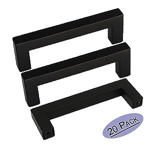 20Pack goldenwarm Black Square Bar Cabinet Handle 3in Drawer Pulls LSJ12BK76 Cabinet Knobs Dresser Handle Drawer Pull Kitchen Cupboard Hardware 3.5in Length Drawer Handle