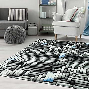 Schlafzimmer Teppich Blau Grau Creme Moderne Optik 120x170 Cm