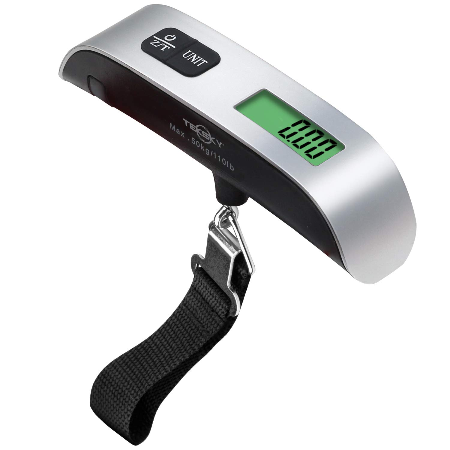 Luggage /& More MAX 110 lbs Textured Hand Grip and Temperature Sensor TekSky Digital Hanging Scale for Traveling
