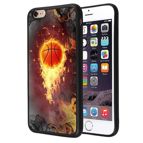 Amazon com: iPhone 6s Plus 6 Plus Case, Basketball Fire