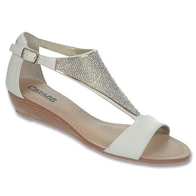 Womens Sandals CARLOS by Carlos Santana Glisten White