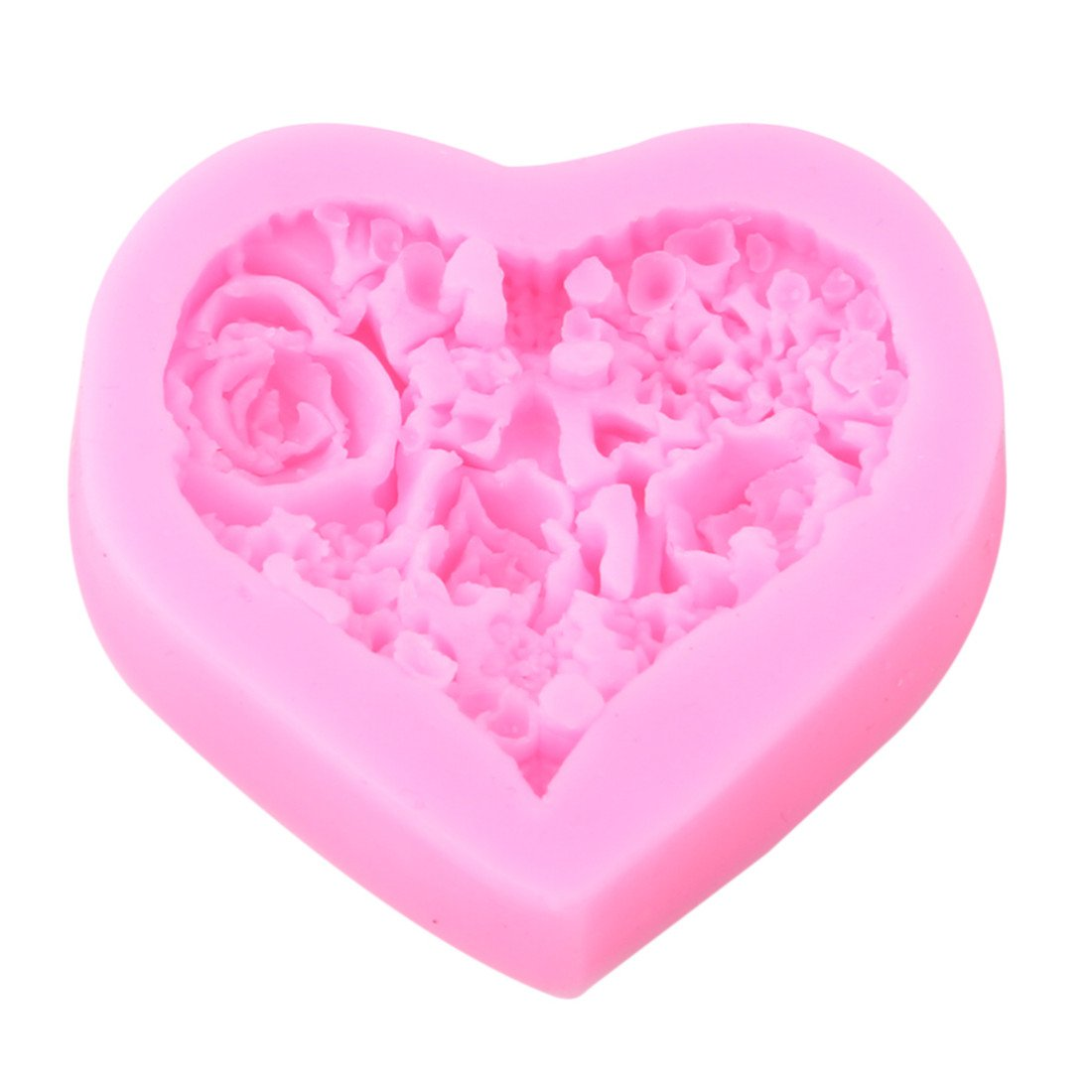 VWH Heart Rose Flower Silicone Chocolate Mould Fondant Candle Soap Mold