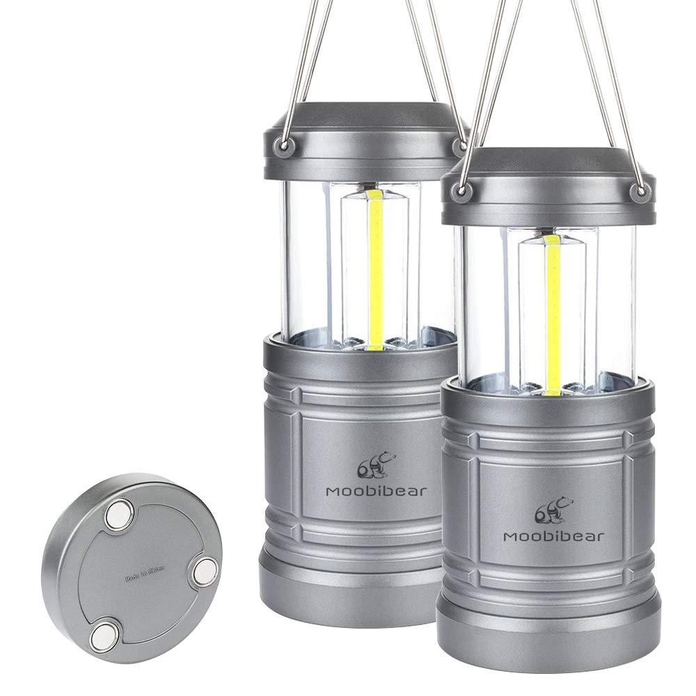 LED Camping Lantern Lights Collapsible - Moobibear 500lm COB Technology LED Storm & Power Outage Lantern Battery Powered with Magnetic Base for Night, Fishing, Hiking, Emergencies, 2 Pack by Moobibear