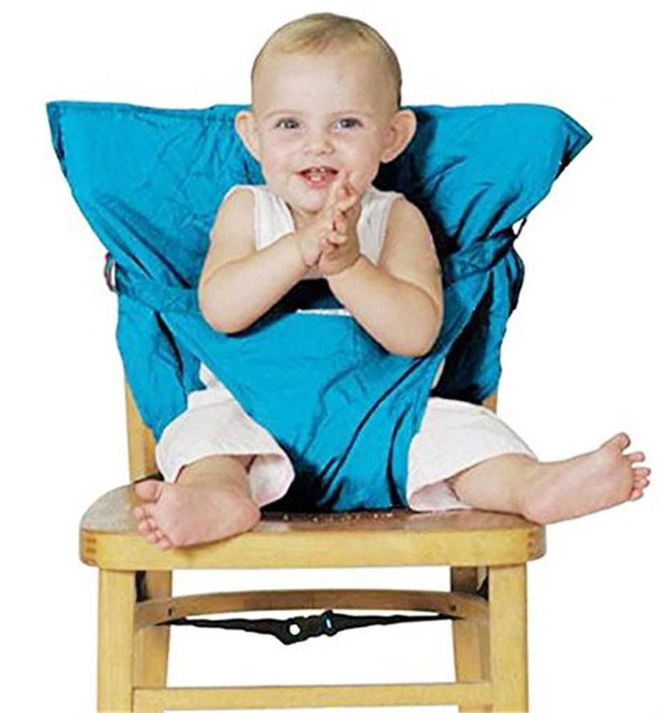Monvecle Washable Chair Harness Infant Baby Portable Travel Highchair Safety Seat Cover Lt blue BBbaby-SackSeat02-Blue