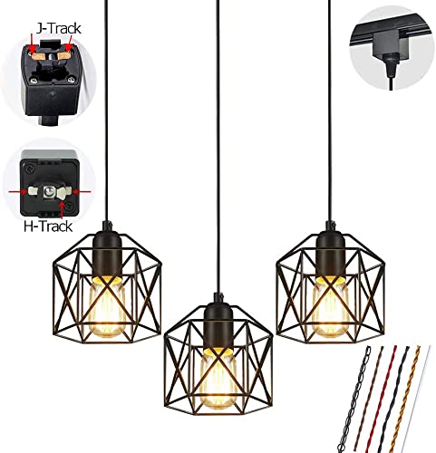 STGLIGHTING Track Mount Pendant Lighting 3-Pack H-Type Track Light Pendants Restaurant Chandelier Decorative Iron Square Cage Pendant Light Industrial Factory Pendant Lamp Bulb Not Included