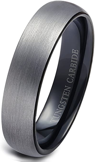 4mm Tungsten Carbide Ring Style Wedding Band 4mm Wide Domed Black Plating Polished Finished Comfort Fit Narrow Band TCR029