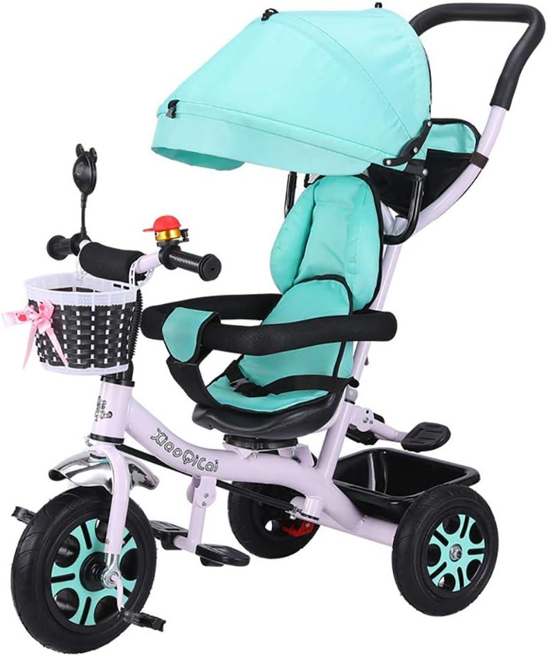 HJFGIRL Triciclos Bebes 1 Año, Triciclo Plegable Bicicletas Estaticas BH con Canopy y Valla Desmontables Ajustables Carga 50kg Adecuado para Niños de 1 a 6 Años