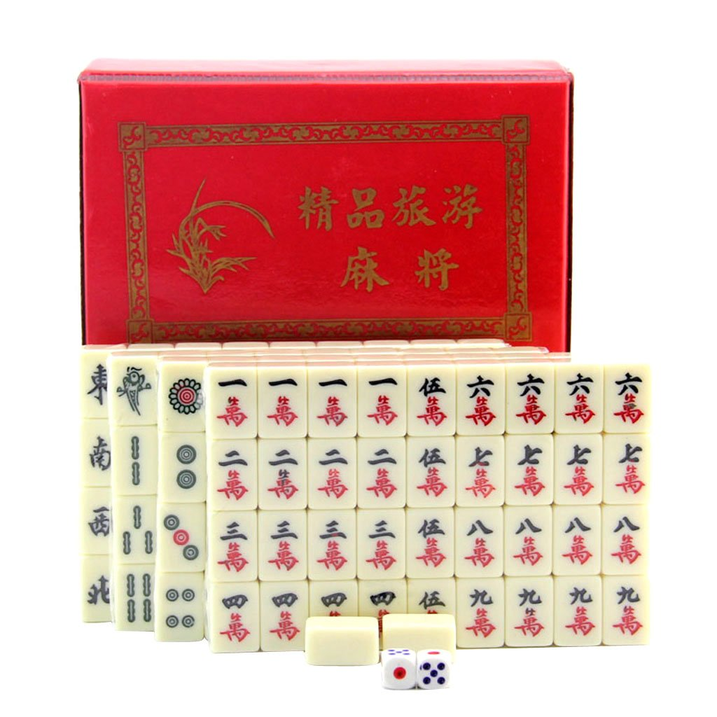 monkeyjack Protable標準Traditional Chinese Mahjongゲーム旅行セット144タイルinボックスケースタイルゲーム B078SQ45KP